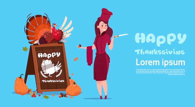 Happy thanksgiving day female chef cook holding turkey restaurant autumn traditional menu concept greeting card Premium Vector