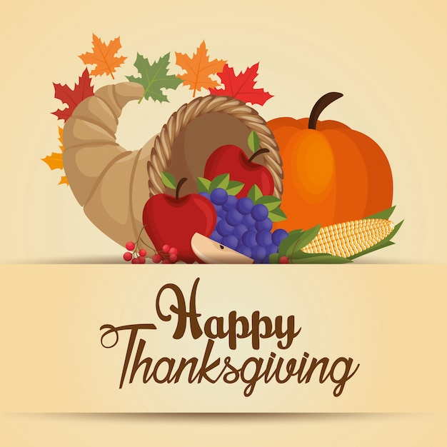 Happy thanksgiving day food celebration Free Vector