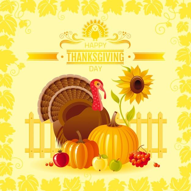 Happy thanksgiving day greeting card with turkey bird, pumpkin, sunflower and vineyard leafs frame. Premium Vector