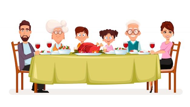 Happy thanksgiving day. happy family Premium Vector