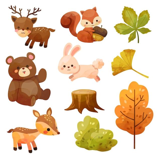 リス、クマ、ウサギ、鹿、切り株、葉の幸せな感謝祭のアイコン 無料ベクター