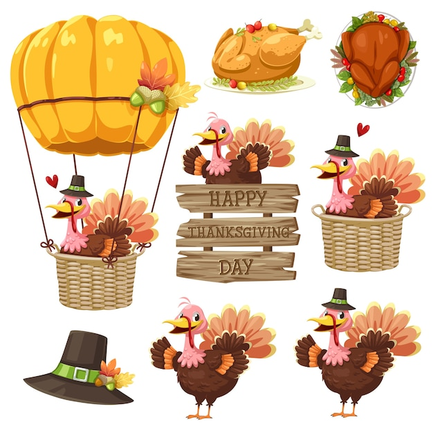 Happy thanksgiving day icon with turkey, label, basket, pumpkin and hat. Free Vector