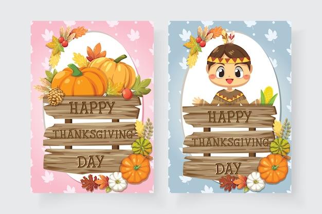 Icone felici di giorno del ringraziamento con ragazze e segni di legno vario. Vettore gratuito