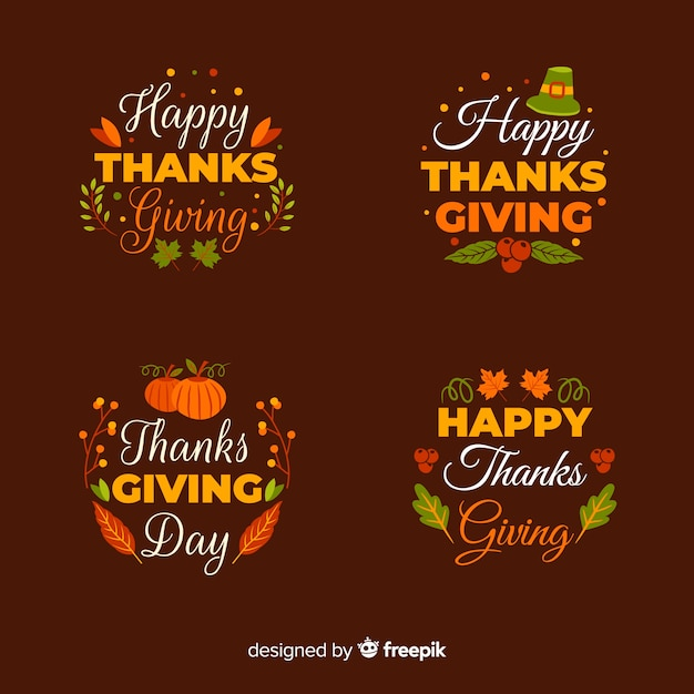 Happy thanksgiving day label collection in hand drawn style Free Vector