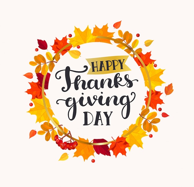 Happy thanksgiving day lettering in frame. Premium Vector
