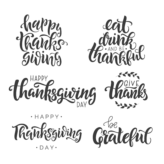 Happy thanksgiving day lettering quote set. Premium Vector