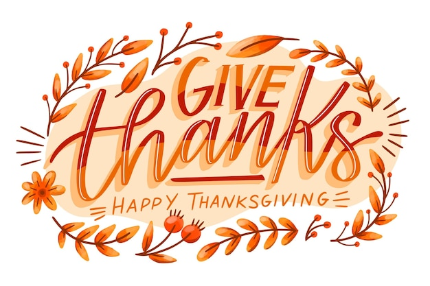 Happy thanksgiving day lettering style Free Vector