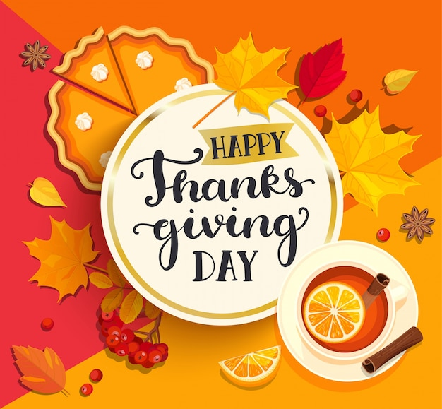 Happy thanksgiving day lettering. Premium Vector