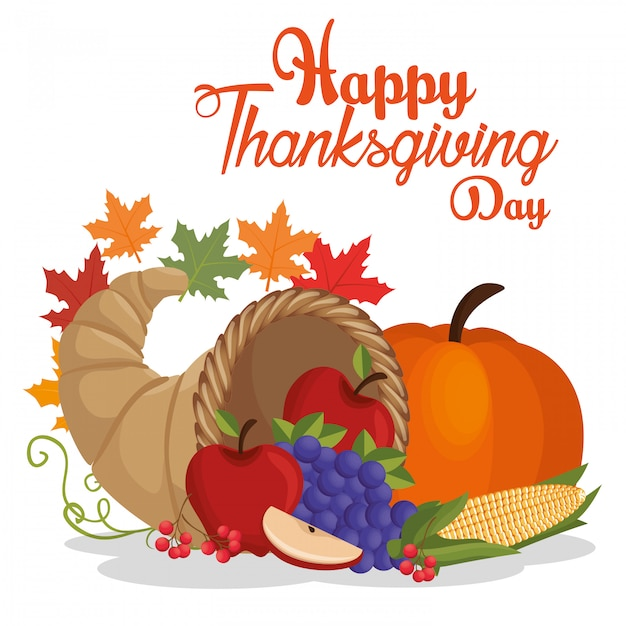 Happy thanksgiving day postcard vegetable fruit leaves autumn Free Vector