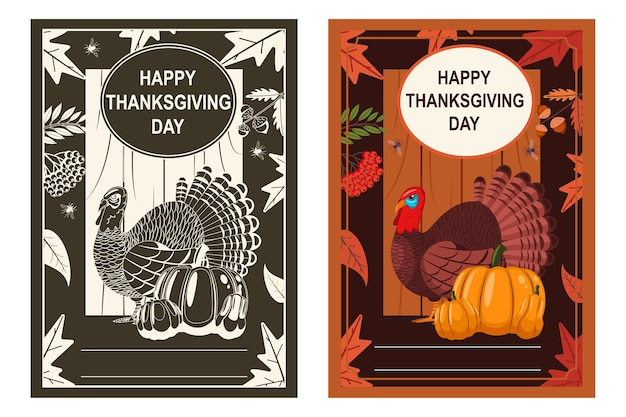Happy thanksgiving day poster with turkey bird, pumpkin and autumn leaves.    set. Premium Vector