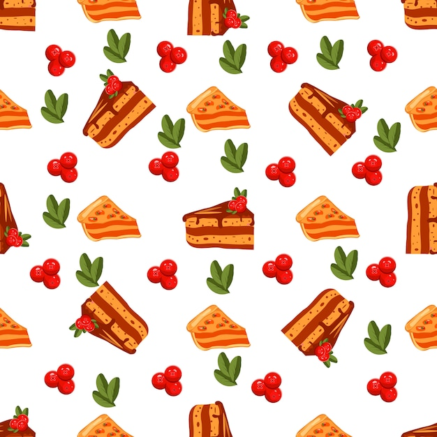 Happy thanksgiving day seamless pattern with sweet cakes Premium Vector