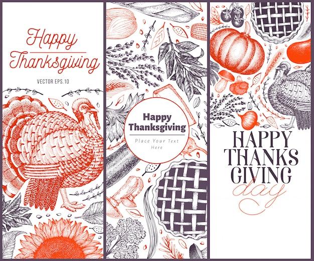 Happy thanksgiving day template. Premium Vector