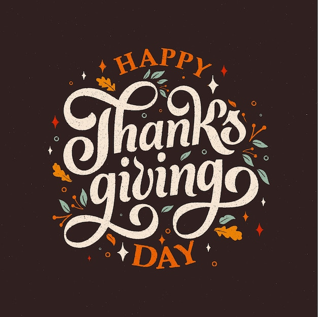 Happy thanksgiving day typography Premium Vector