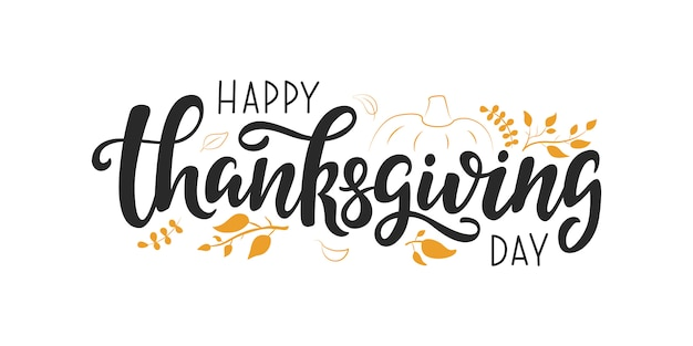 Happy thanksgiving day vector lettering quote, Premium Vector