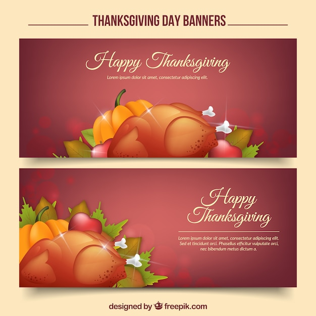 Happy thanksgiving day with realistic banners vector free download for Happy thanksgiving banners