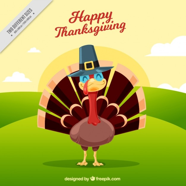 Happy thanksgiving day with a smiling turkey Free Vector