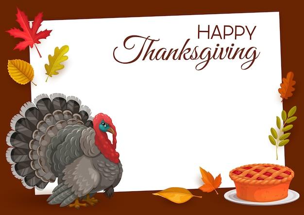 七面鳥、パンプキンパイ、カエデ、オーク、バーチ、またはナナカマドの秋の落ち葉と灰の幸せな感謝祭のフレーム。感謝祭おめでとう、秋のホリデーイベントグリーティングカード Premiumベクター