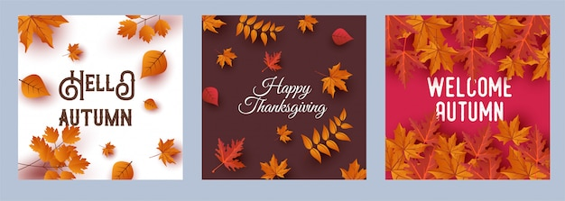 Happy thanksgiving greeting card. hello autumn cards set Premium Vector