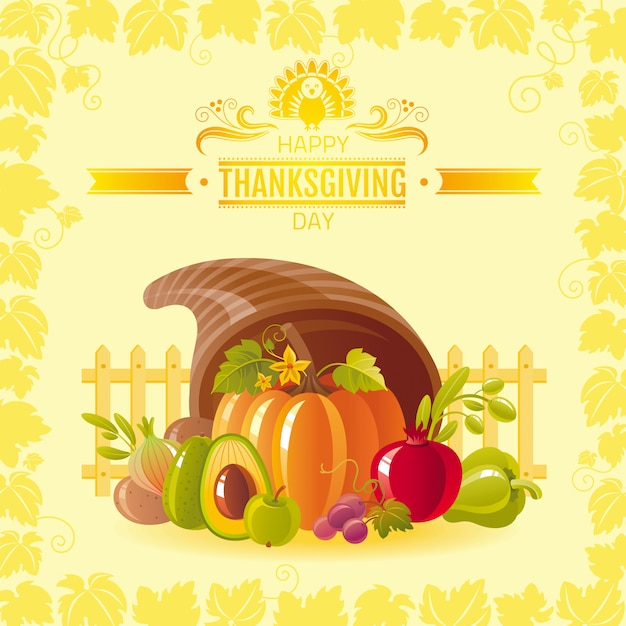 Happy thanksgiving greeting card with horn of plenty, pumpkin and autumn leaves.. Premium Vector