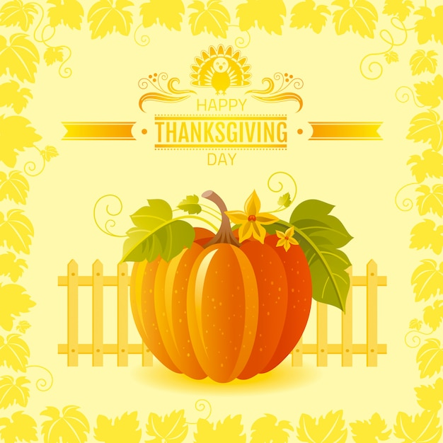 Happy thanksgiving greeting card with pumpkin and autumn leaves. Premium Vector
