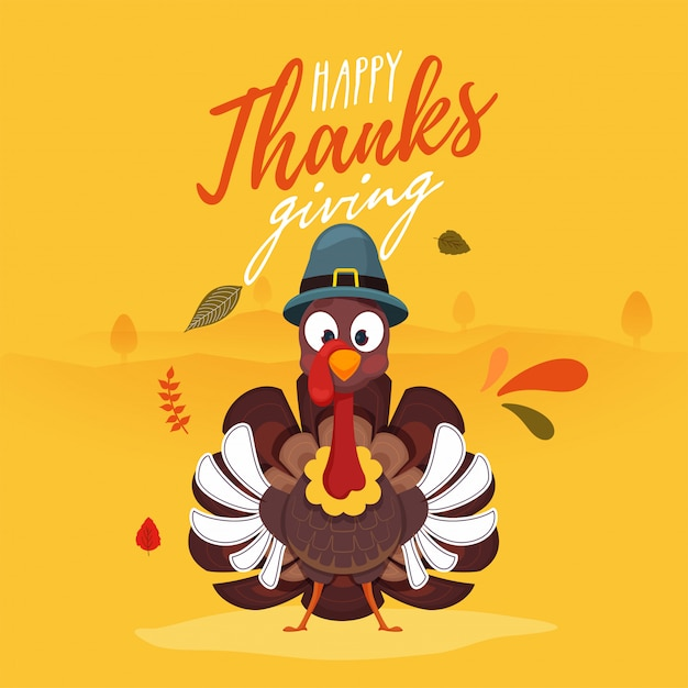 Happy thanksgiving greeting card. Premium Vector