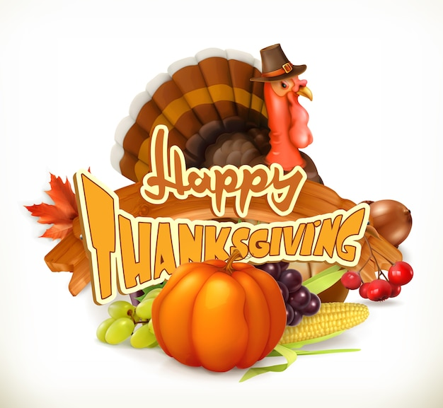 Happy thanksgiving invitation. greeting card. Premium Vector