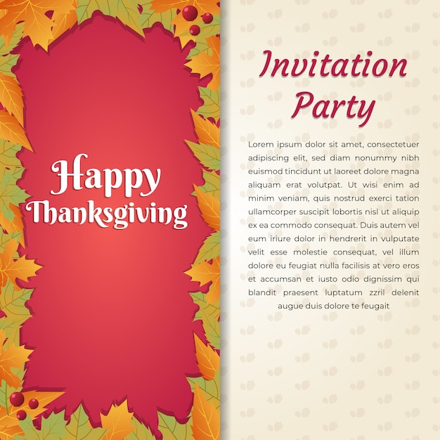 Happy Thanksgiving Invitation Party Card Template Square