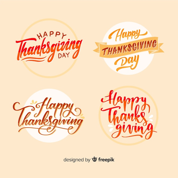 Happy thanksgiving lettering badges collection Free Vector