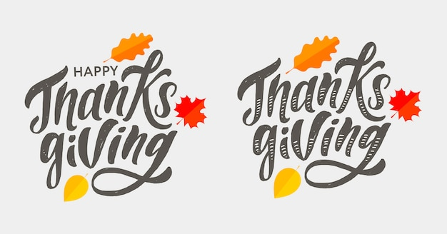 Happy thanksgiving lettering calligraphy brush text holiday  sticker Premium Vector