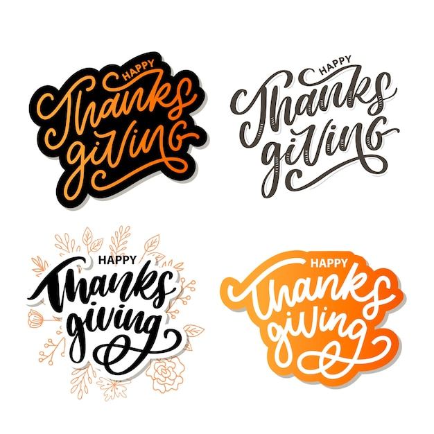 Happy thanksgiving lettering calligraphy text brush Premium Vector