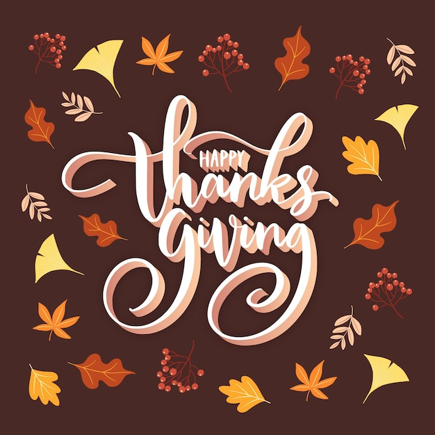Happy thanksgiving lettering design Free Vector