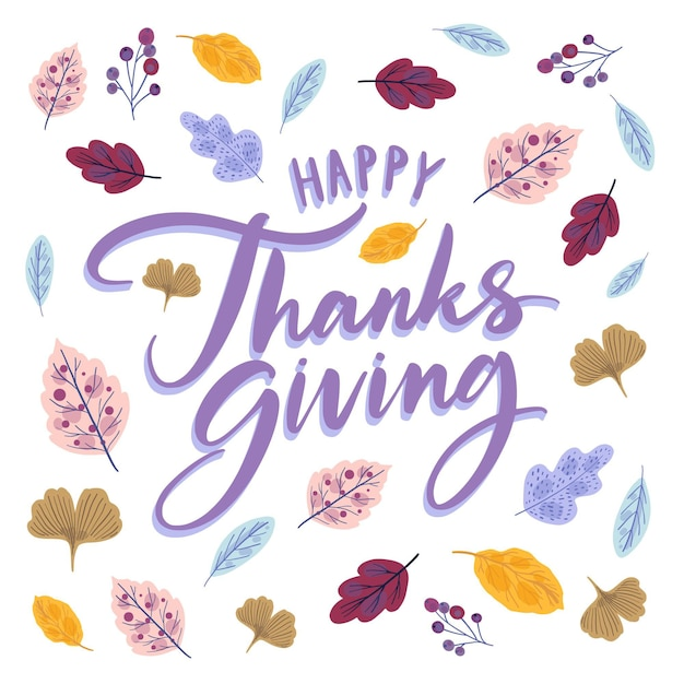 Happy thanksgiving lettering style with leaves Free Vector