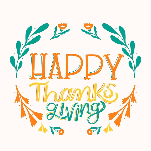Happy thanksgiving lettering style Free Vector