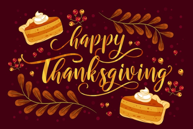 Happy thanksgiving lettering with pie Free Vector