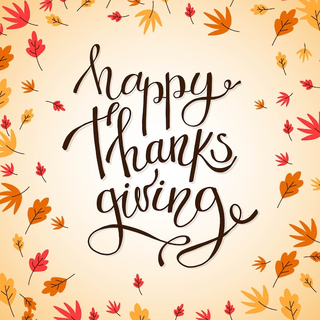 Happy thanksgiving lettering Free Vector