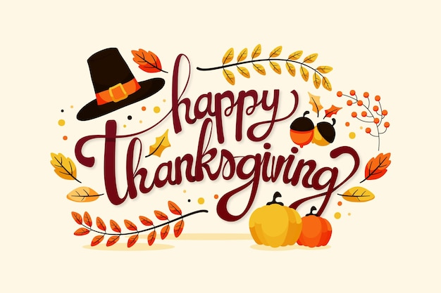 Happy thanksgiving lettering Premium Vector