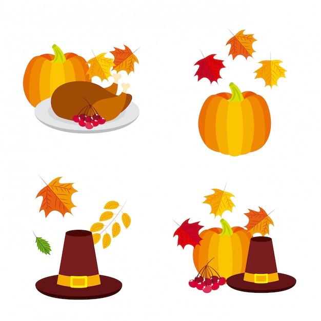Happy thanksgiving logos Free Vector