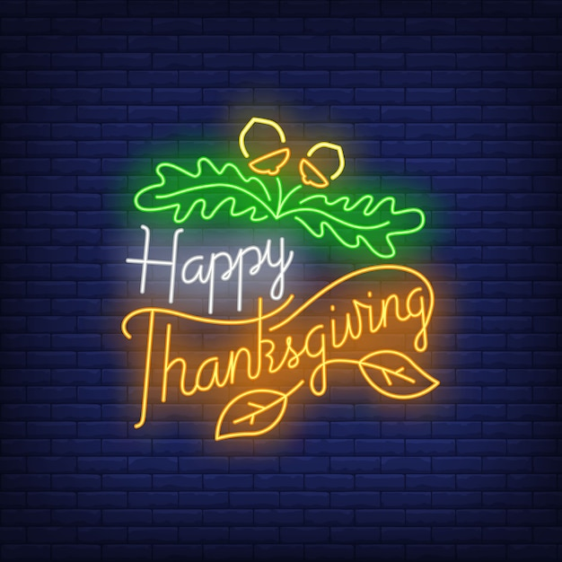 Happy thanksgiving in neon style Free Vector