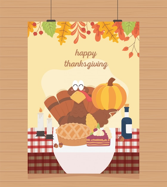 Happy thanksgiving poster hanging turkey pumpkin cake wine candles Premium Vector