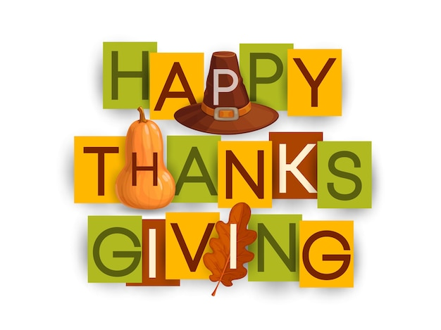 가 오크 잎, 갈색 모자와 호박 즐거운 추수 감사절 포스터. 감사하는 날 휴일 인사말 흰색 배경에 고립 된 다채로운 종이 직사각형 카드에 타이포그래피 편지 프리미엄 벡터