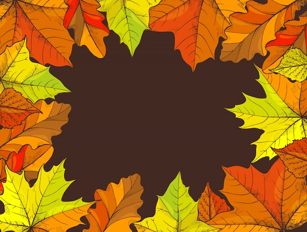 Happy thanksgiving poster with text leaves vector Premium Vector