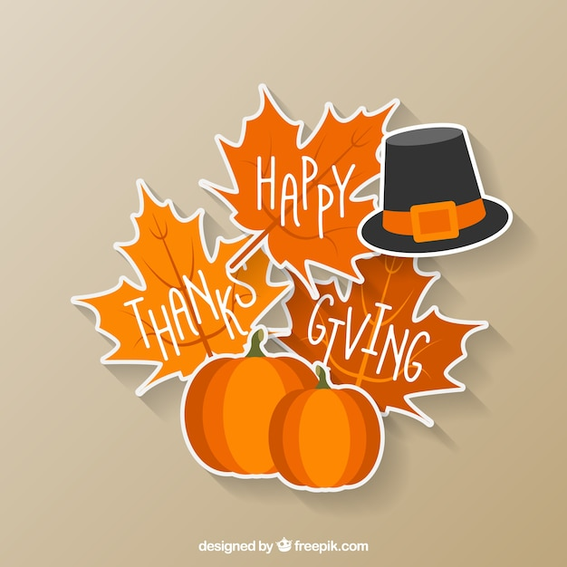 Happy thanksgiving sticker Free Vector