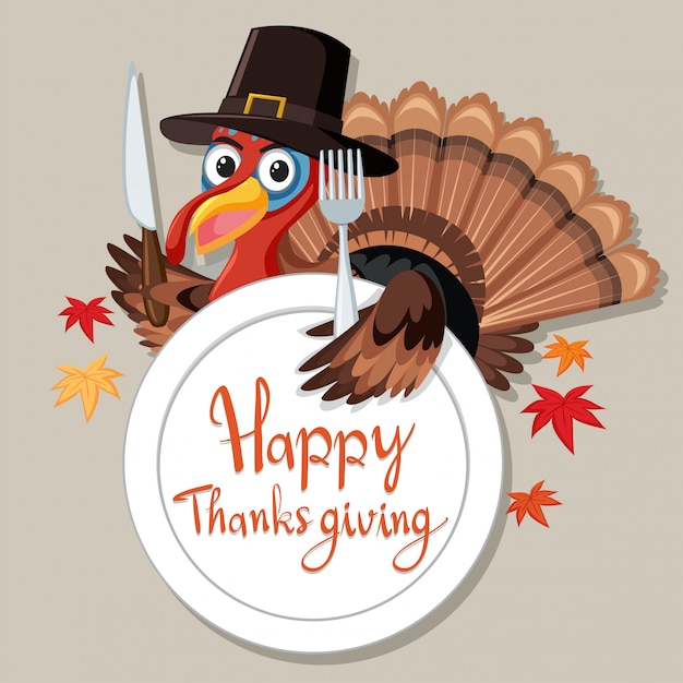 Happy thanksgiving turkey card Free Vector