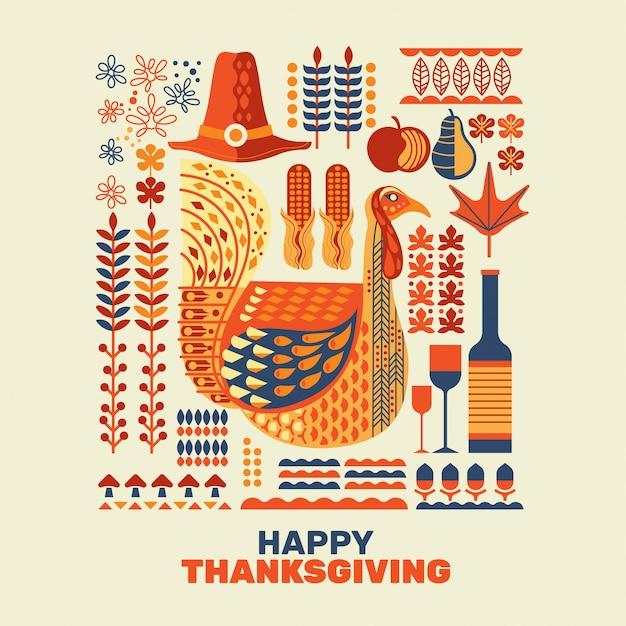 Happy thanksgiving turkeys and decoration with design element set Premium Vector