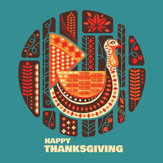 Happy thanksgiving turkeys and decoration with design element set Premium Vector