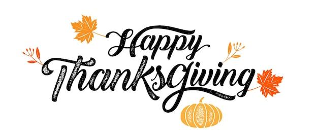 Happy thanksgiving typography , badge. vector calligraphy Premium Vector