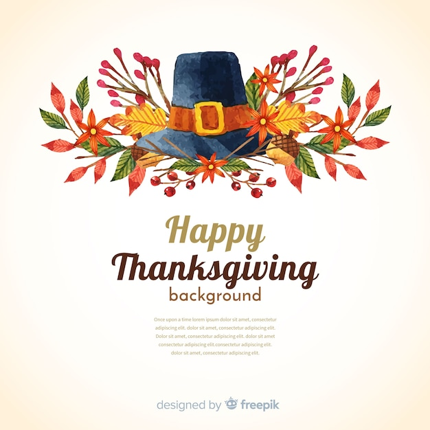 Happy thanksgiving watercolor background with hat and leaves Free Vector