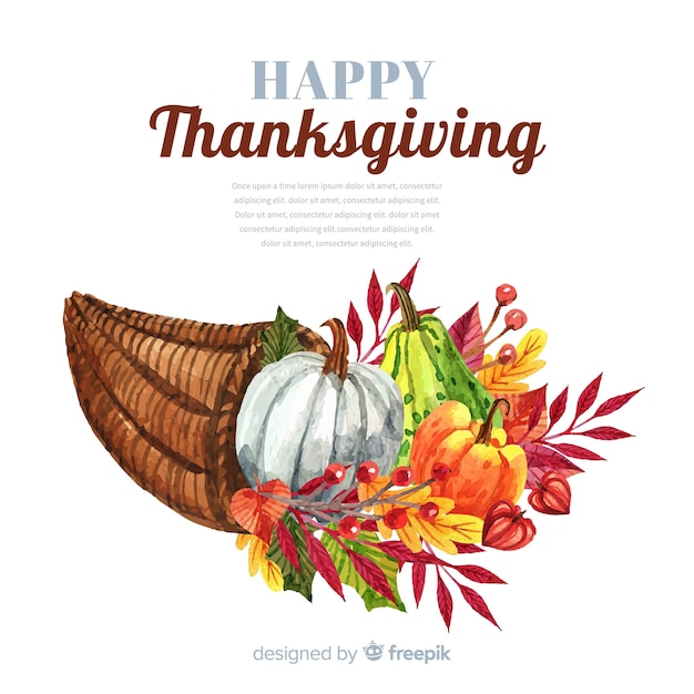Happy thanksgiving watercolor background with pumpkins and leaves Free Vector