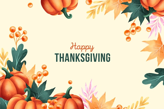 Happy thanksgiving in watercolor background Free Vector