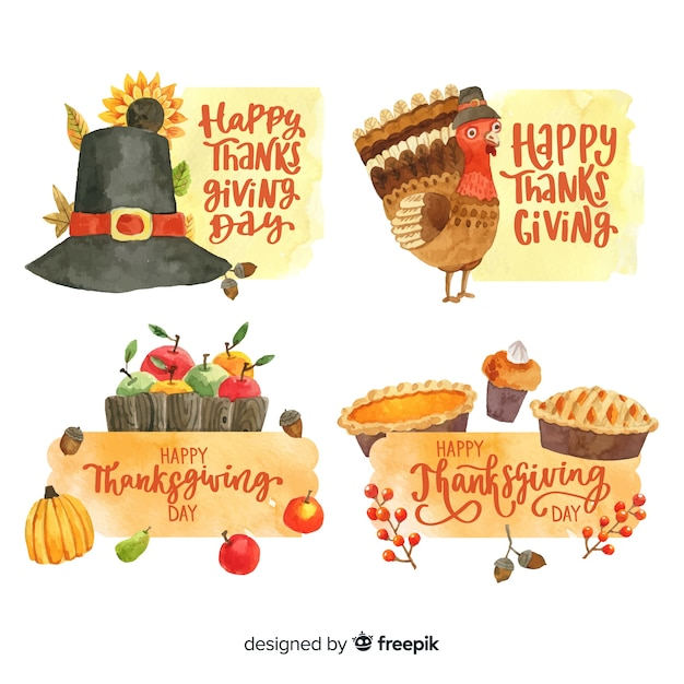 Happy thanksgiving watercolor  badge collection Free Vector